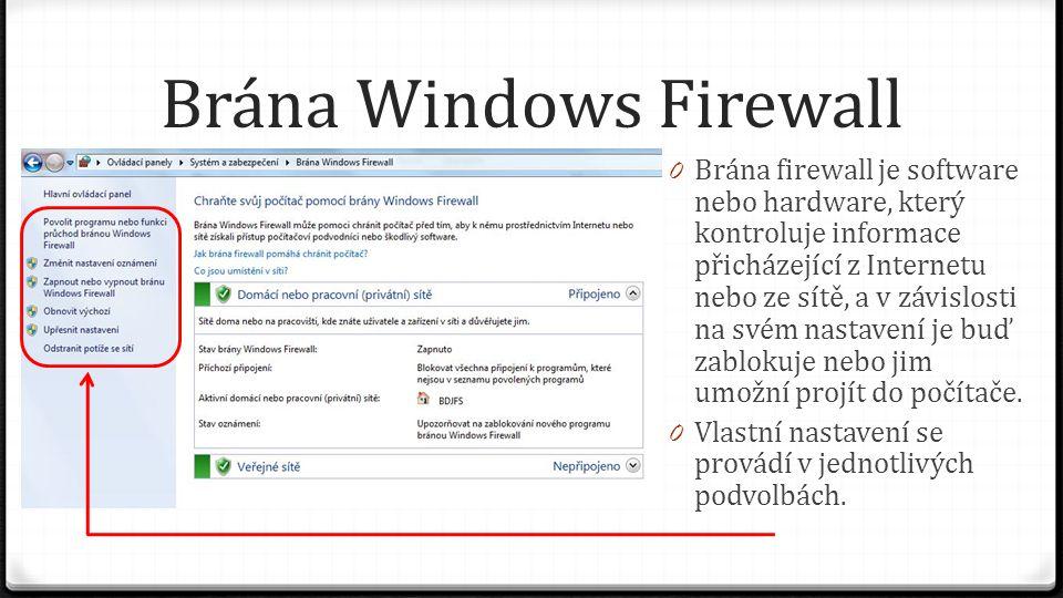 Brána Windows Firewall 0 Brána firewall je software nebo hardware, který kontroluje informace přicházející z Internetu nebo ze sítě, a v závislosti na svém nastavení je buď zablokuje nebo jim umožní projít do počítače.