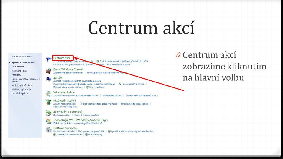 Centrum akcí 0 Centrum akcí zobrazíme kliknutím na hlavní volbu