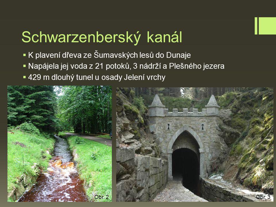 Schwarzenberský kanál  K plavení dřeva ze Šumavských lesů do Dunaje  Napájela jej voda z 21 potoků, 3 nádrží a Plešného jezera  429 m dlouhý tunel