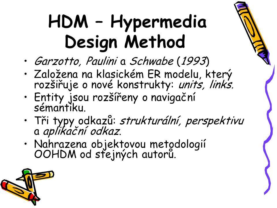 HDM – Hypermedia Design Method Garzotto, Paulini a Schwabe (1993) Založena na klasickém ER modelu, který rozšiřuje o nové konstrukty: units, links.