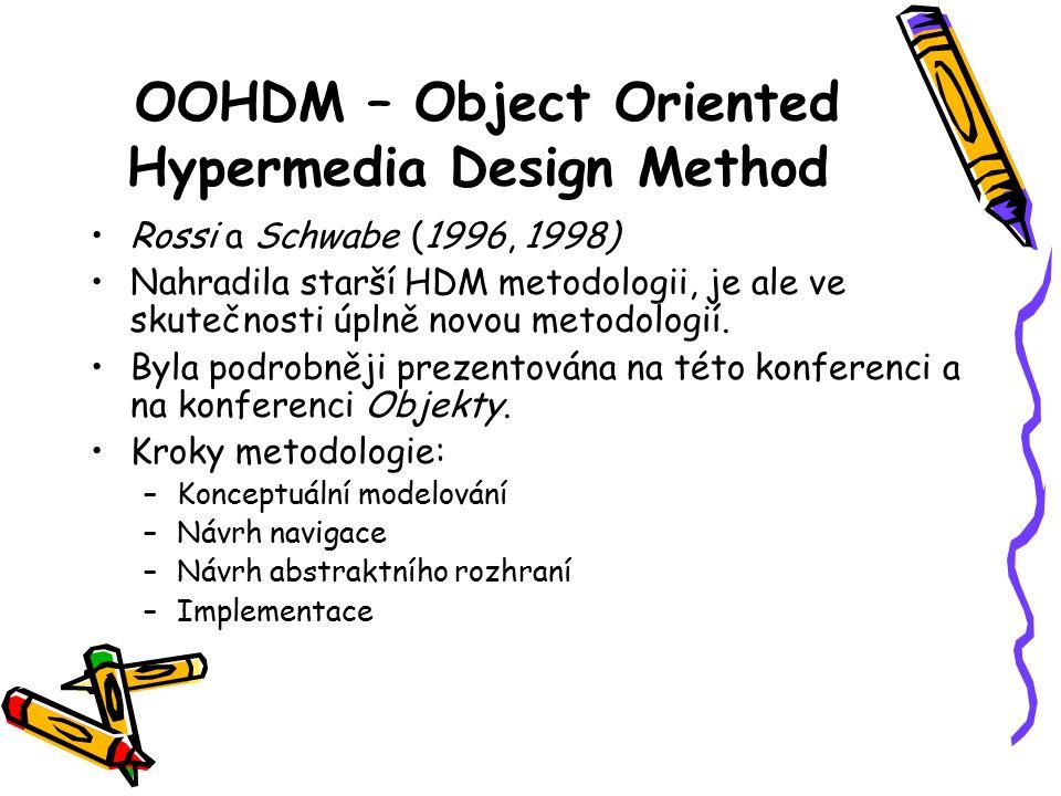OOHDM – Object Oriented Hypermedia Design Method Rossi a Schwabe (1996, 1998) Nahradila starší HDM metodologii, je ale ve skutečnosti úplně novou metodologií.