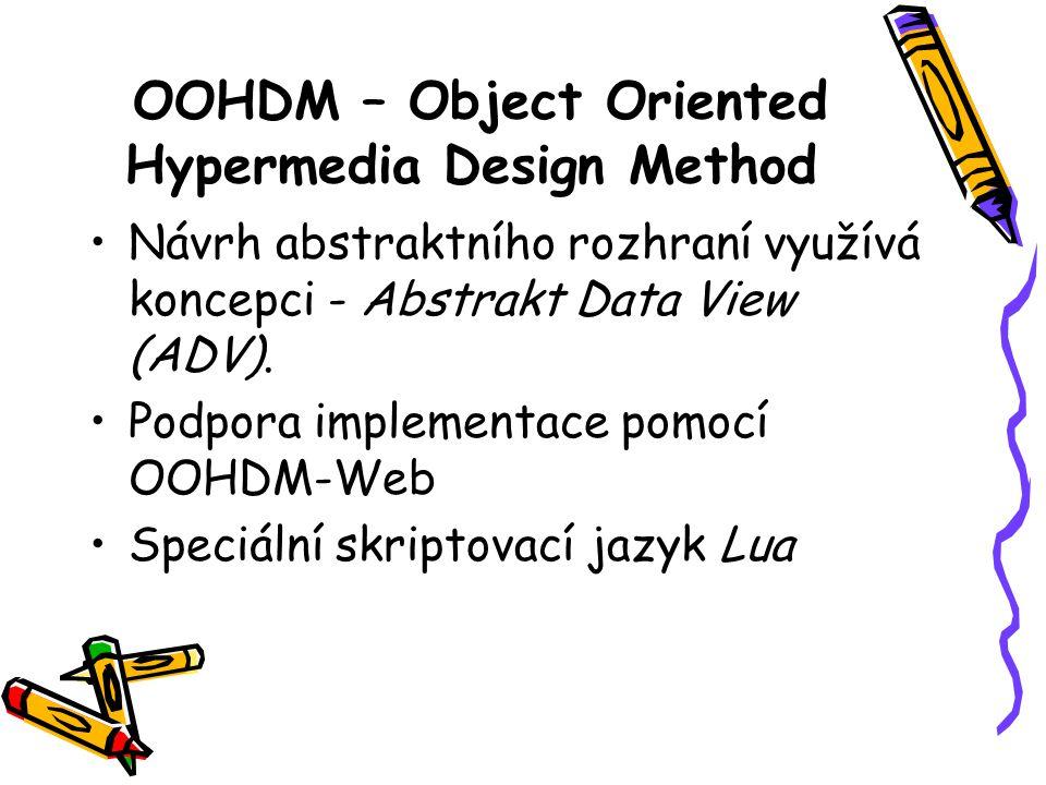 OOHDM – Object Oriented Hypermedia Design Method Návrh abstraktního rozhraní využívá koncepci - Abstrakt Data View (ADV).