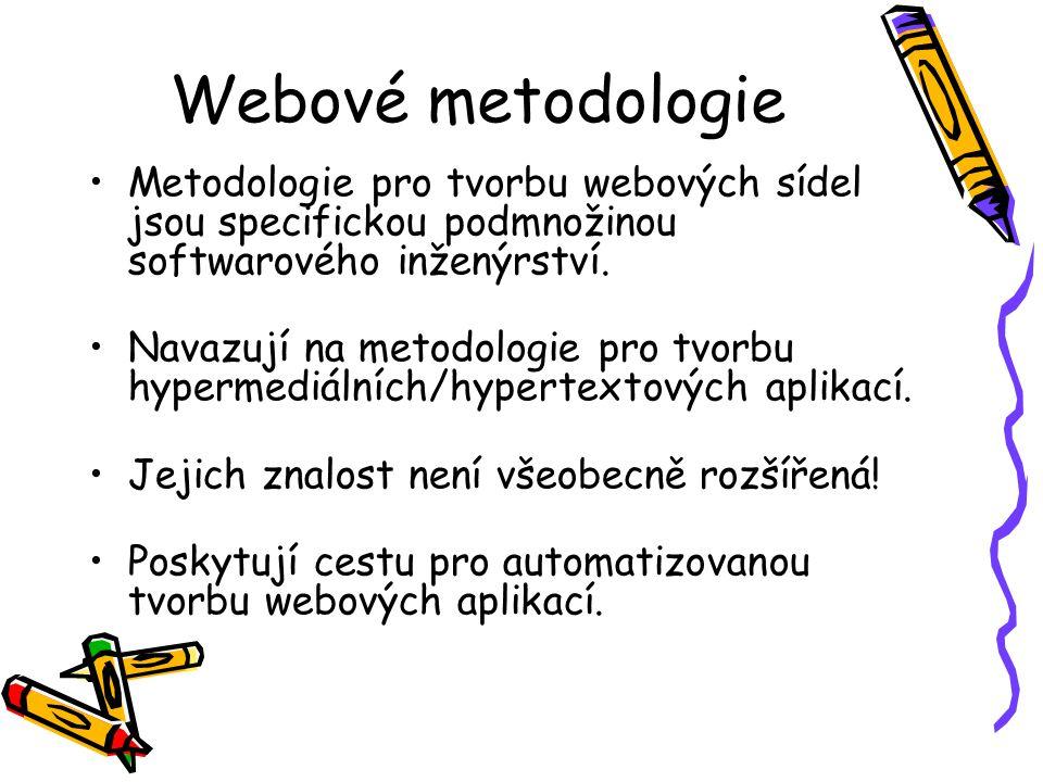 Webové metodologie Metodologie pro tvorbu webových sídel jsou specifickou podmnožinou softwarového inženýrství.