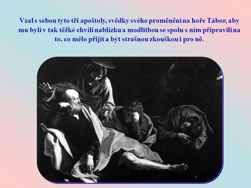 Toto jsou slova, kterými se Ježíš během svého smrtelného zápasu v Getsemanech obrátil k Petrovi, Jakubovi a Janovi, když viděl, že je přemáhá spánek.