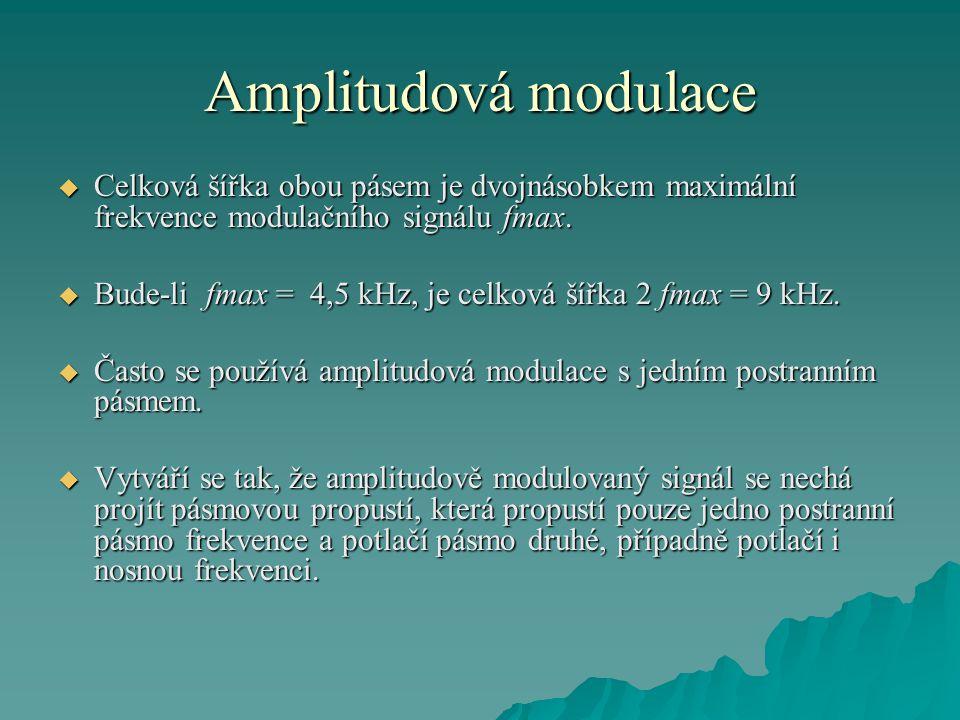 Amplitudová modulace  Celková šířka obou pásem je dvojnásobkem maximální frekvence modulačního signálu fmax.  Bude-li fmax = 4,5 kHz, je celková šíř