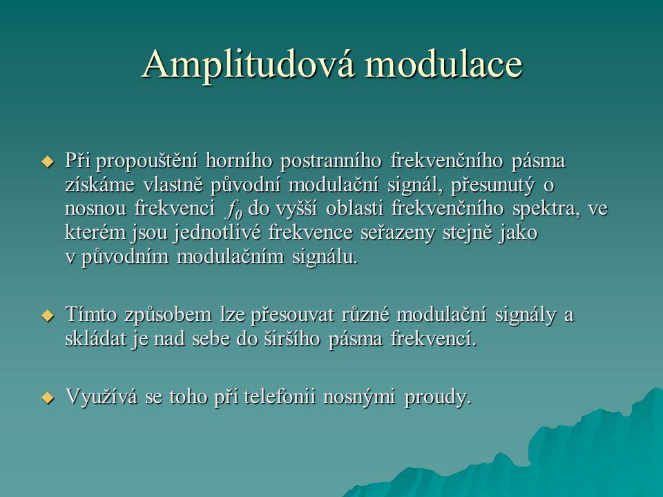 Amplitudová modulace  Při propouštění horního postranního frekvenčního pásma získáme vlastně původní modulační signál, přesunutý o nosnou frekvenci f