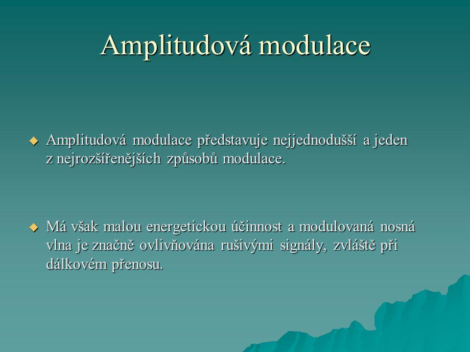 Amplitudová modulace  Amplitudová modulace představuje nejjednodušší a jeden z nejrozšířenějších způsobů modulace.  Má však malou energetickou účinn