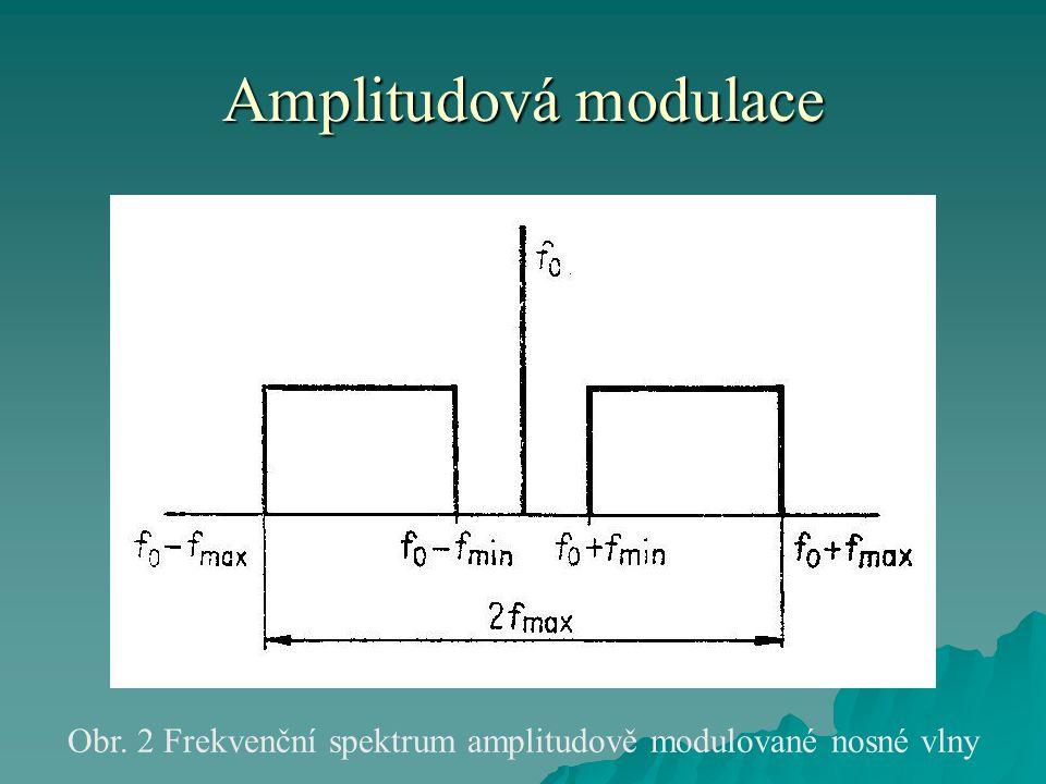 Amplitudová modulace  Celková šířka obou pásem je dvojnásobkem maximální frekvence modulačního signálu fmax.