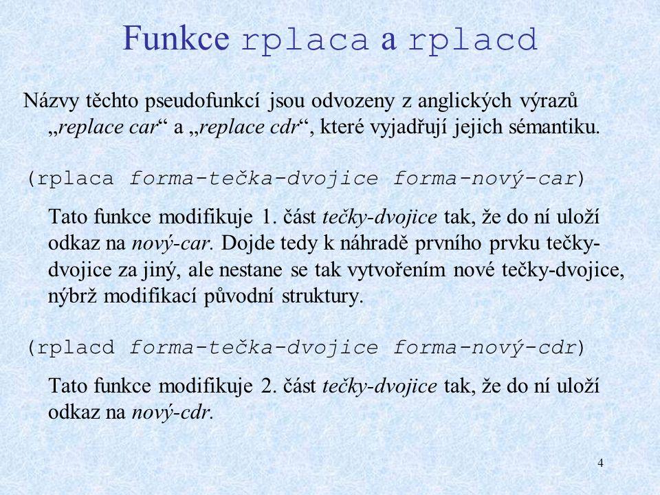 """4 Funkce rplaca a rplacd Názvy těchto pseudofunkcí jsou odvozeny z anglických výrazů """"replace car"""" a """"replace cdr"""", které vyjadřují jejich sémantiku."""