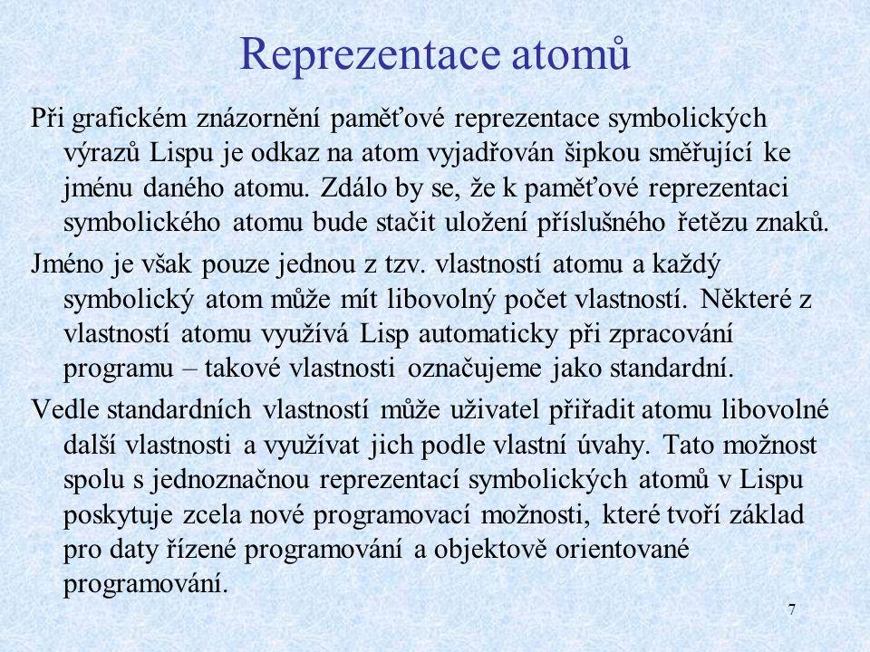 7 Reprezentace atomů Při grafickém znázornění paměťové reprezentace symbolických výrazů Lispu je odkaz na atom vyjadřován šipkou směřující ke jménu daného atomu.