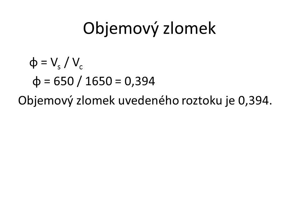 Objemový zlomek φ = V s / V c φ = 650 / 1650 = 0,394 Objemový zlomek uvedeného roztoku je 0,394.