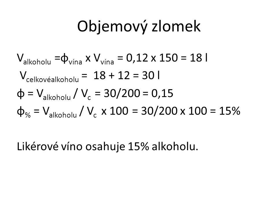 Objemový zlomek V alkoholu =φ vína x V vína = 0,12 x 150 = 18 l V celkovéalkoholu = 18 + 12 = 30 l φ = V alkoholu / V c = 30/200 = 0,15 φ % = V alkoholu / V c x 100 = 30/200 x 100 = 15% Likérové víno osahuje 15% alkoholu.
