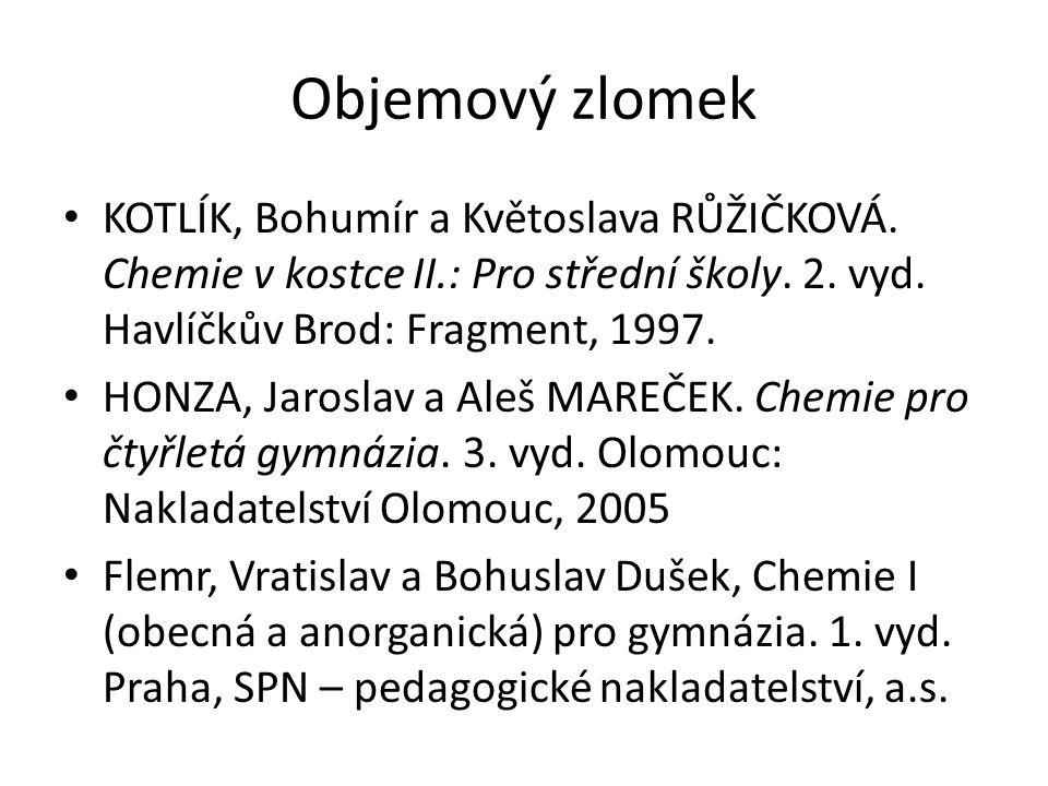 Objemový zlomek KOTLÍK, Bohumír a Květoslava RŮŽIČKOVÁ. Chemie v kostce II.: Pro střední školy. 2. vyd. Havlíčkův Brod: Fragment, 1997. HONZA, Jarosla