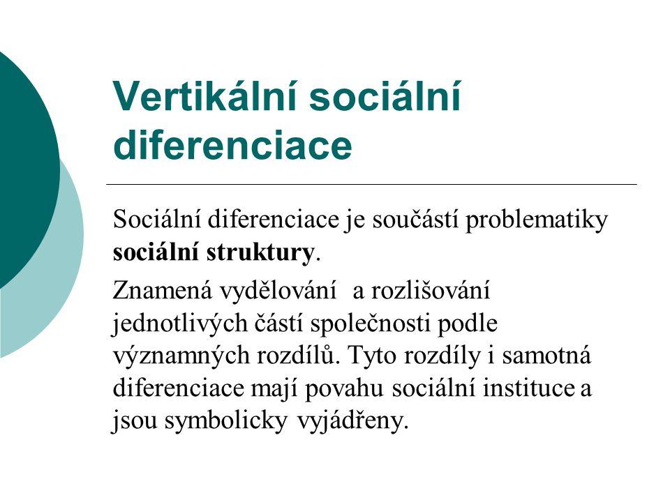 Vertikální sociální diferenciace Sociální diferenciace je součástí problematiky sociální struktury.