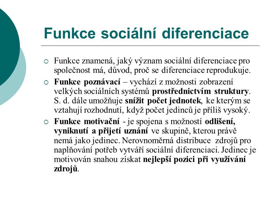 Funkce sociální diferenciace  Funkce znamená, jaký význam sociální diferenciace pro společnost má, důvod, proč se diferenciace reprodukuje.