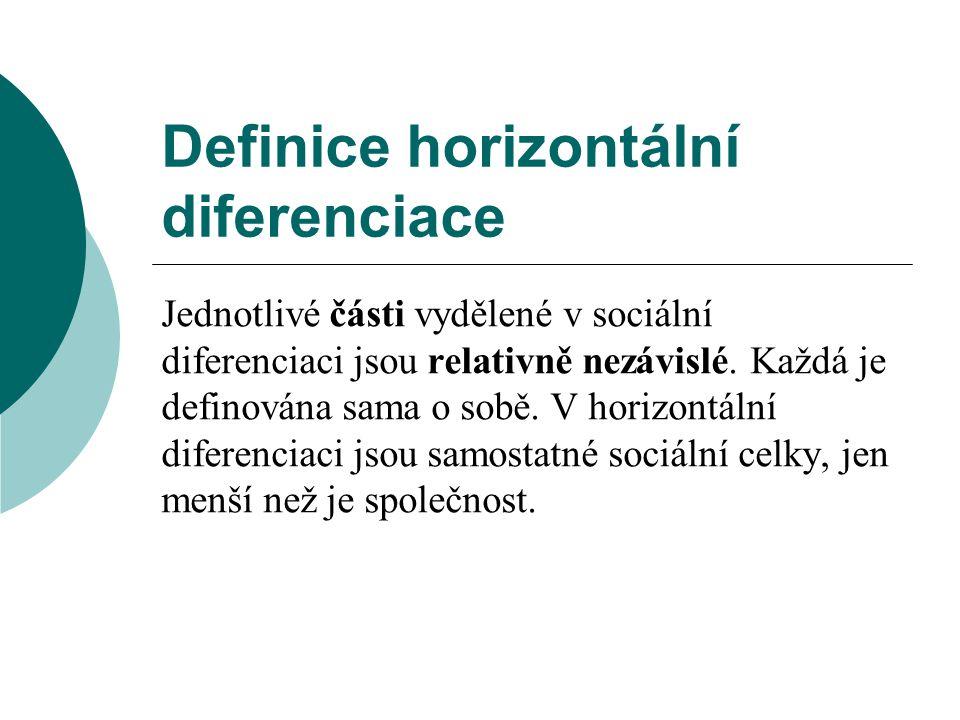 Vlastní faktory vertikální diferenciace  Podle znaků se ve vertikální diferenciaci odlišují části, faktory naplňují význam diferenciace.