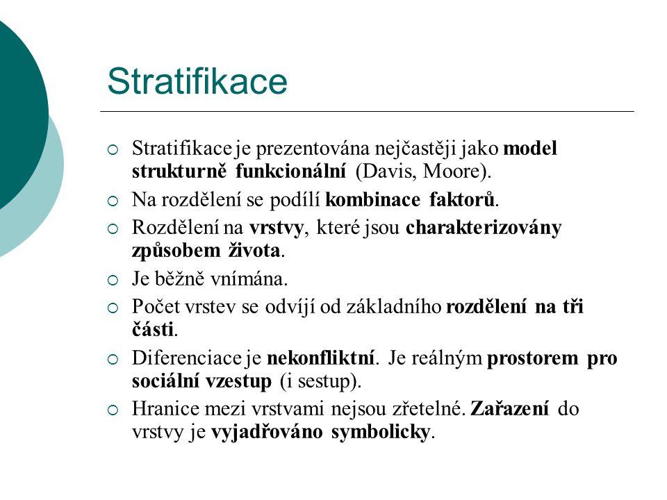 Stratifikace  Stratifikace je prezentována nejčastěji jako model strukturně funkcionální (Davis, Moore).  Na rozdělení se podílí kombinace faktorů.