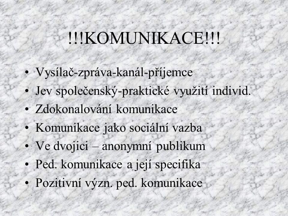 !!!KOMUNIKACE!!! Vysílač-zpráva-kanál-příjemce Jev společenský-praktické využití individ. Zdokonalování komunikace Komunikace jako sociální vazba Ve d