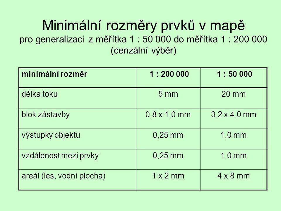 Minimální rozměry prvků v mapě pro generalizaci z měřítka 1 : 50 000 do měřítka 1 : 200 000 (cenzální výběr) minimální rozměr 1 : 200 000 1 : 50 000 d