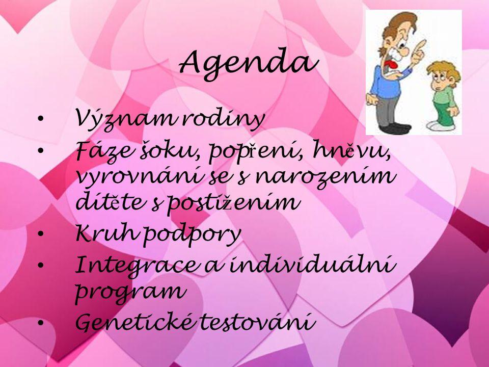 Agenda Význam rodiny Fáze šoku, pop ř ení, hn ě vu, vyrovnání se s narozením dít ě te s posti ž ením Kruh podpory Integrace a individuální program Gen