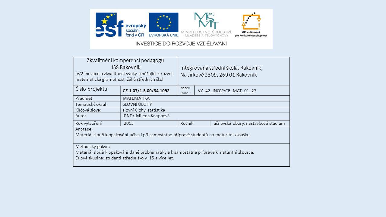 Zkvalitnění kompetencí pedagogů ISŠ Rakovník IV/2 Inovace a zkvalitnění výuky směřující k rozvoji matematické gramotnosti žáků středních škol Integrov