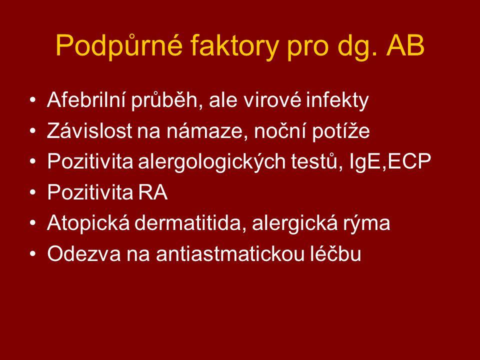 Podpůrné faktory pro dg. AB Afebrilní průběh, ale virové infekty Závislost na námaze, noční potíže Pozitivita alergologických testů, IgE,ECP Pozitivit