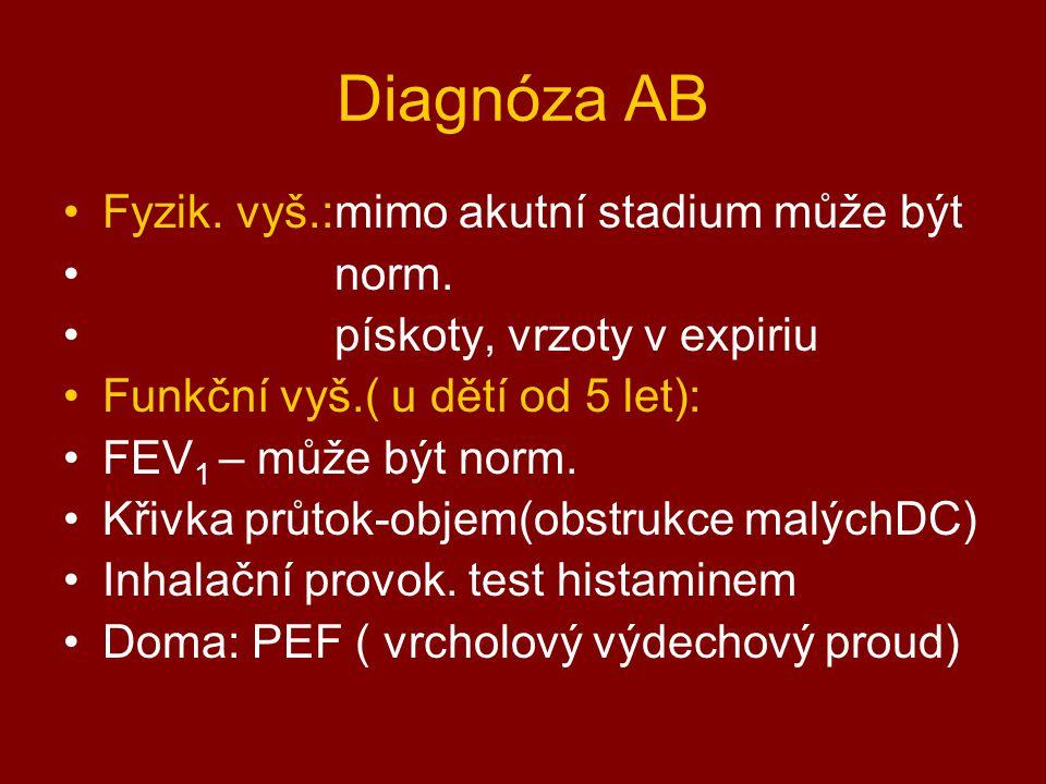 Diagnóza AB Fyzik. vyš.:mimo akutní stadium může být norm. pískoty, vrzoty v expiriu Funkční vyš.( u dětí od 5 let): FEV 1 – může být norm. Křivka prů