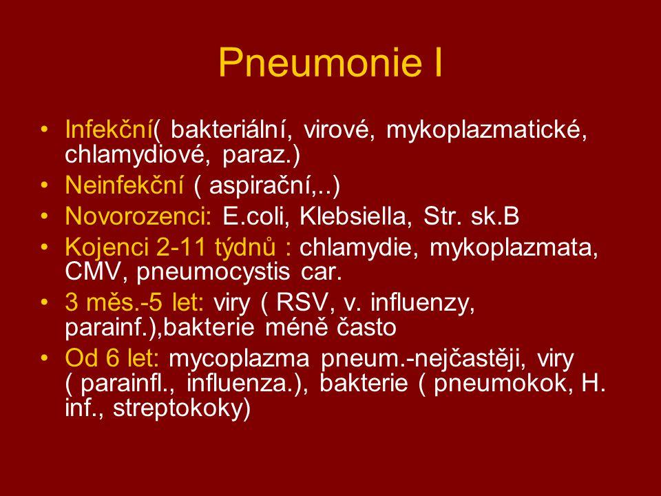 Pneumonie I Infekční( bakteriální, virové, mykoplazmatické, chlamydiové, paraz.) Neinfekční ( aspirační,..) Novorozenci: E.coli, Klebsiella, Str. sk.B
