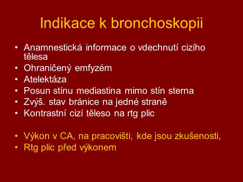 Indikace k bronchoskopii Anamnestická informace o vdechnutí cizího tělesa Ohraničený emfyzém Atelektáza Posun stínu mediastina mimo stín sterna Zvýš.