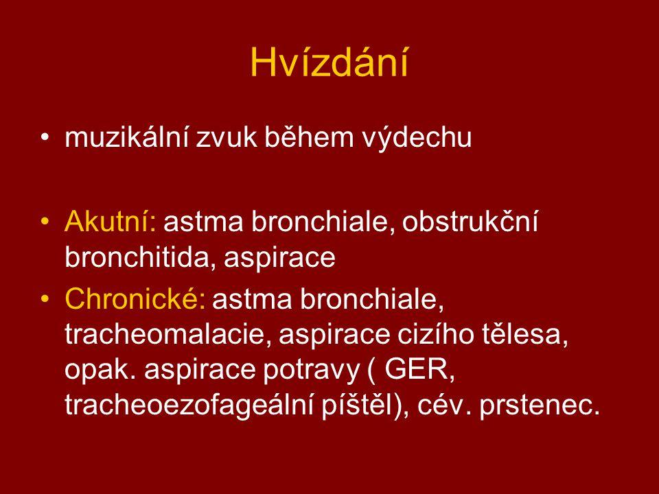 Hvízdání muzikální zvuk během výdechu Akutní: astma bronchiale, obstrukční bronchitida, aspirace Chronické: astma bronchiale, tracheomalacie, aspirace cizího tělesa, opak.