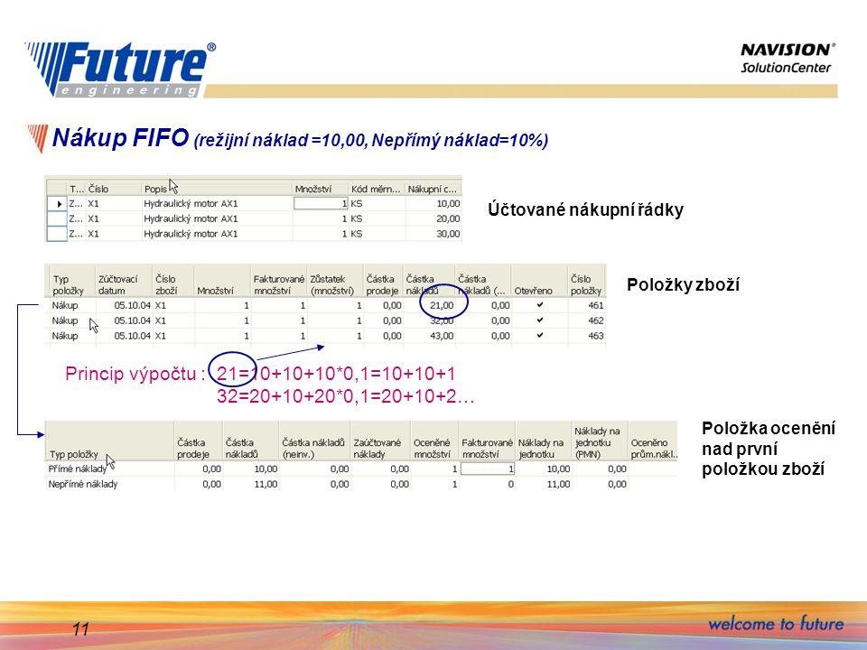 11 Nákup FIFO (režijní náklad =10,00, Nepřímý náklad=10%) Účtované nákupní řádky Položky zboží Princip výpočtu : 21=10+10+10*0,1=10+10+1 32=20+10+20*0,1=20+10+2… Položka ocenění nad první položkou zboží