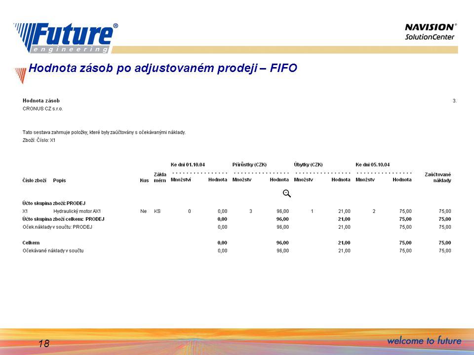 18 Hodnota zásob po adjustovaném prodeji – FIFO