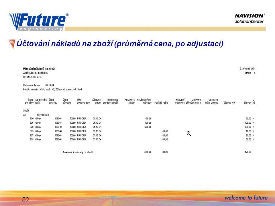 20 Účtování nákladů na zboží (průměrná cena, po adjustaci)