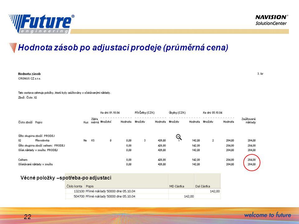 22 Hodnota zásob po adjustaci prodeje (průměrná cena) Věcné položky –spotřeba-po adjustaci