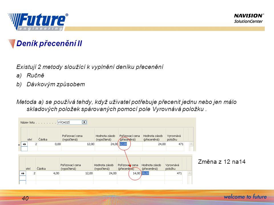 40 Deník přecenění II Existují 2 metody sloužící k vyplnění deníku přecenění a)Ručně b)Dávkovým způsobem Metoda a) se používá tehdy, když uživatel pot
