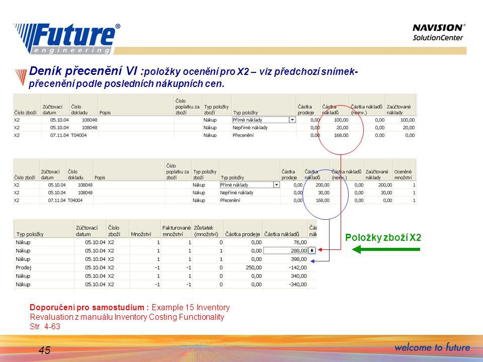 45 Deník přecenění VI : položky ocenění pro X2 – viz předchozí snímek- přecenění podle posledních nákupních cen. Doporučení pro samostudium : Example