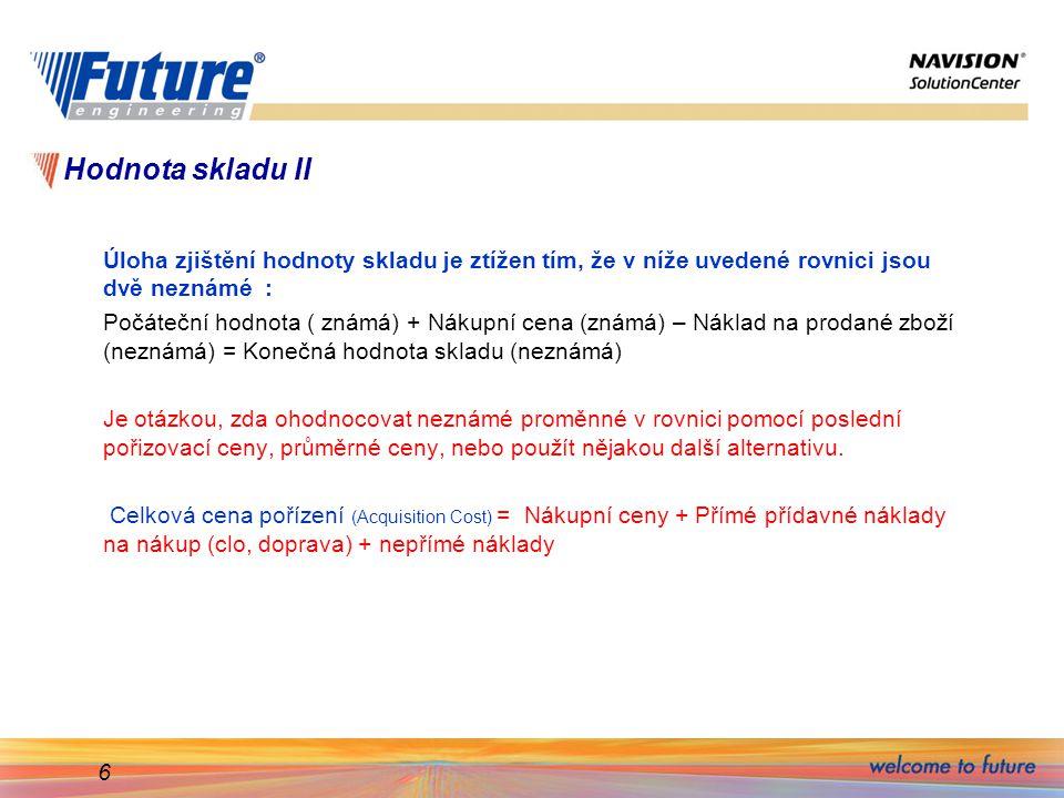 17 Karta zboží- nová pořizovací cena- FIFO Zaúčtovaný náklad na prodej byl 21,00.