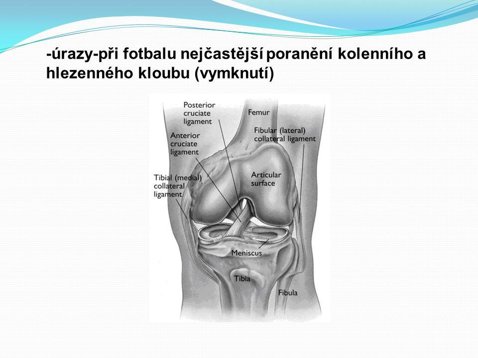 -úrazy-při fotbalu nejčastější poranění kolenního a hlezenného kloubu (vymknutí)
