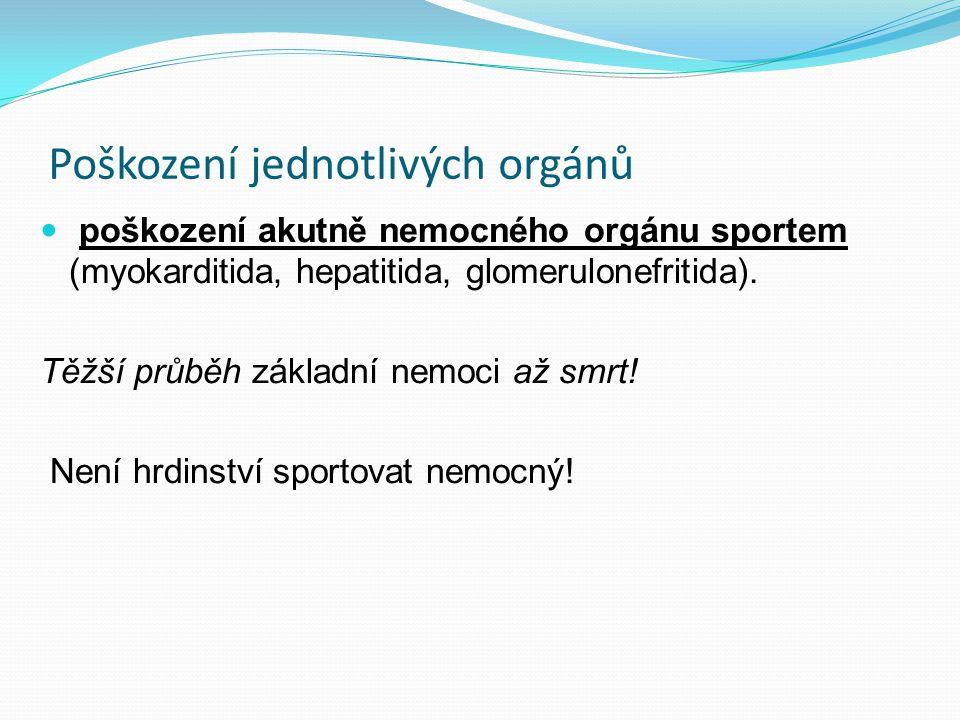Poškození jednotlivých orgánů poškození akutně nemocného orgánu sportem (myokarditida, hepatitida, glomerulonefritida). Těžší průběh základní nemoci a