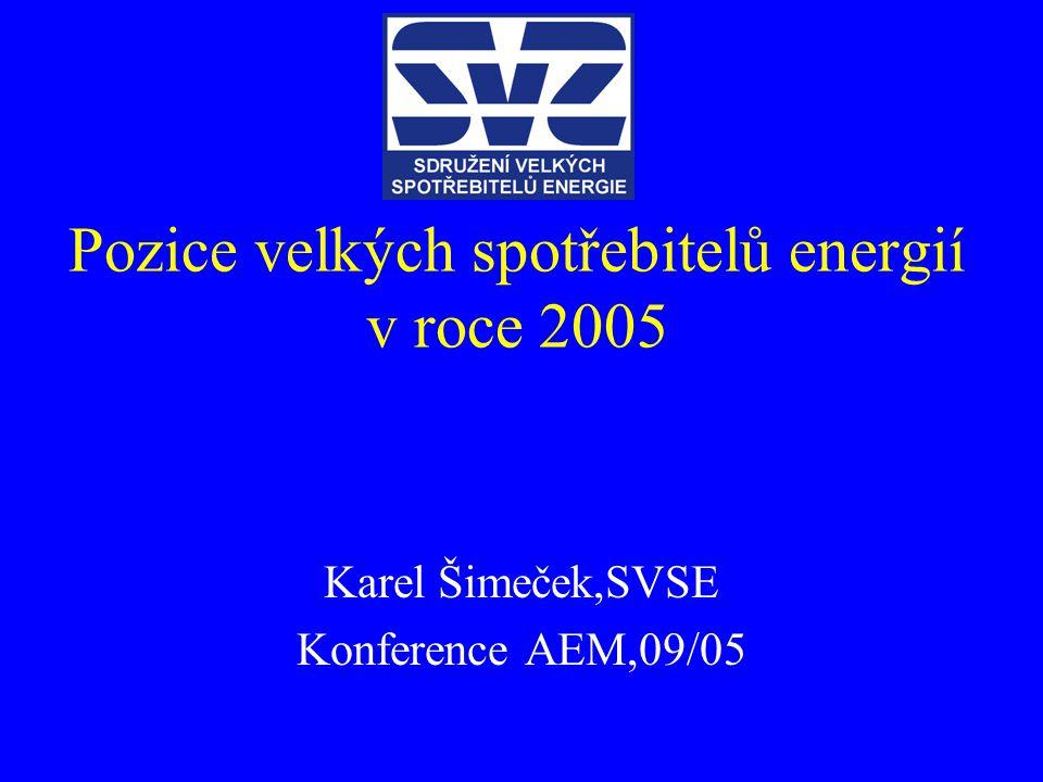 Pozice velkých spotřebitelů energií v roce 2005 Karel Šimeček,SVSE Konference AEM,09/05