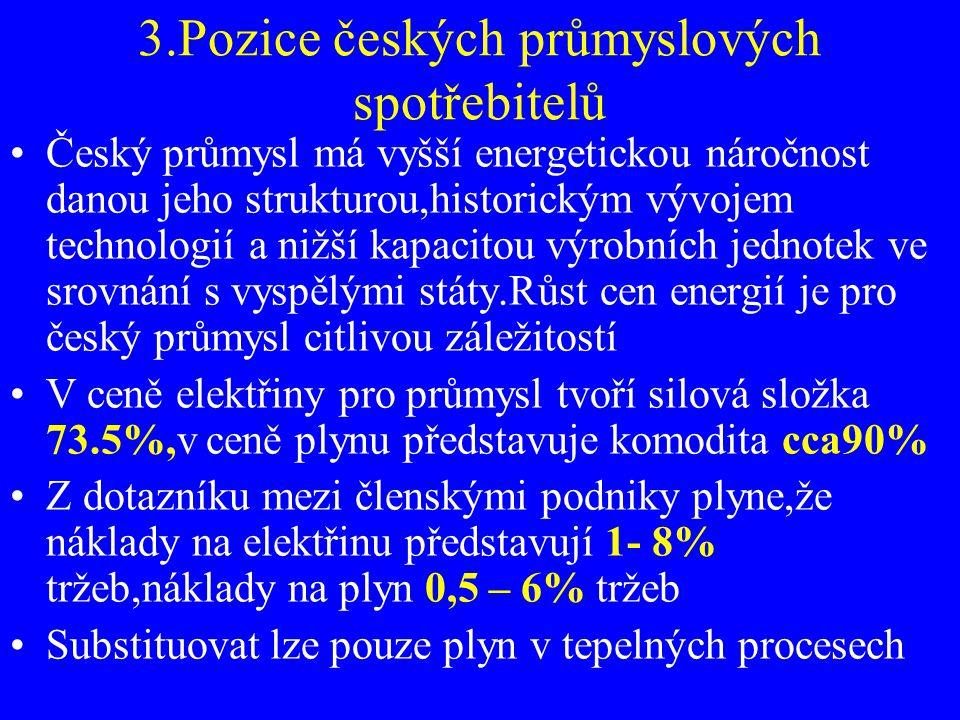 3.Pozice českých průmyslových spotřebitelů Český průmysl má vyšší energetickou náročnost danou jeho strukturou,historickým vývojem technologií a nižší