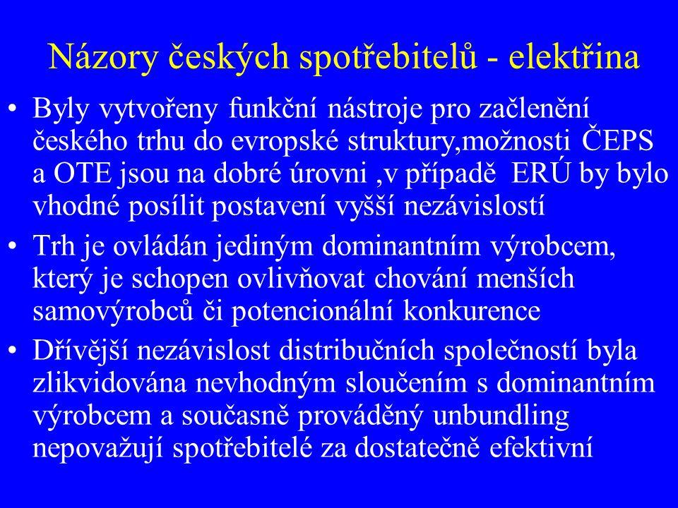 Názory českých spotřebitelů - elektřina Byly vytvořeny funkční nástroje pro začlenění českého trhu do evropské struktury,možnosti ČEPS a OTE jsou na d