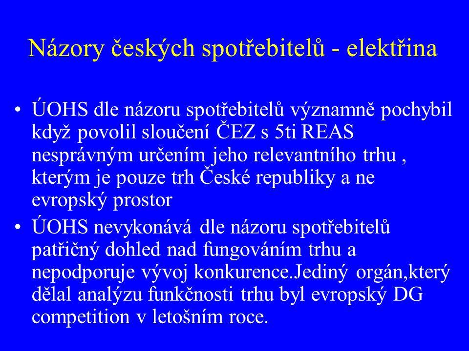 Názory českých spotřebitelů - elektřina ÚOHS dle názoru spotřebitelů významně pochybil když povolil sloučení ČEZ s 5ti REAS nesprávným určením jeho re