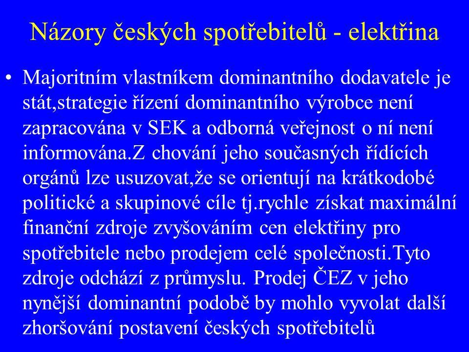Názory českých spotřebitelů - elektřina Majoritním vlastníkem dominantního dodavatele je stát,strategie řízení dominantního výrobce není zapracována v