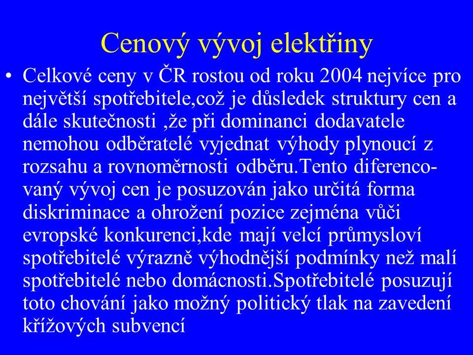 Cenový vývoj elektřiny Celkové ceny v ČR rostou od roku 2004 nejvíce pro největší spotřebitele,což je důsledek struktury cen a dále skutečnosti,že při