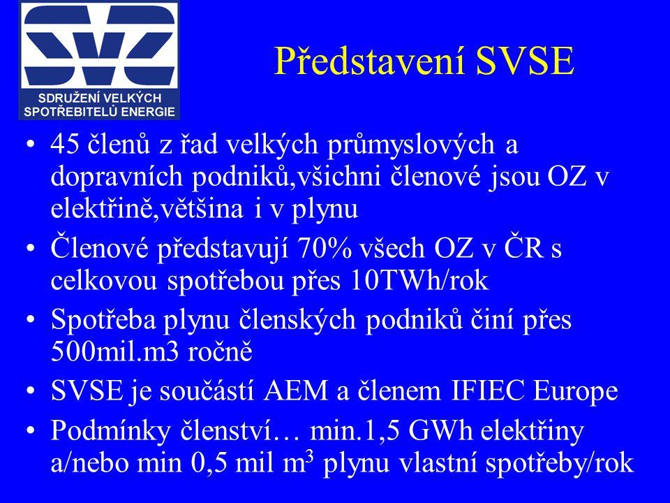 Představení SVSE 45 členů z řad velkých průmyslových a dopravních podniků,všichni členové jsou OZ v elektřině,většina i v plynu Členové představují 70