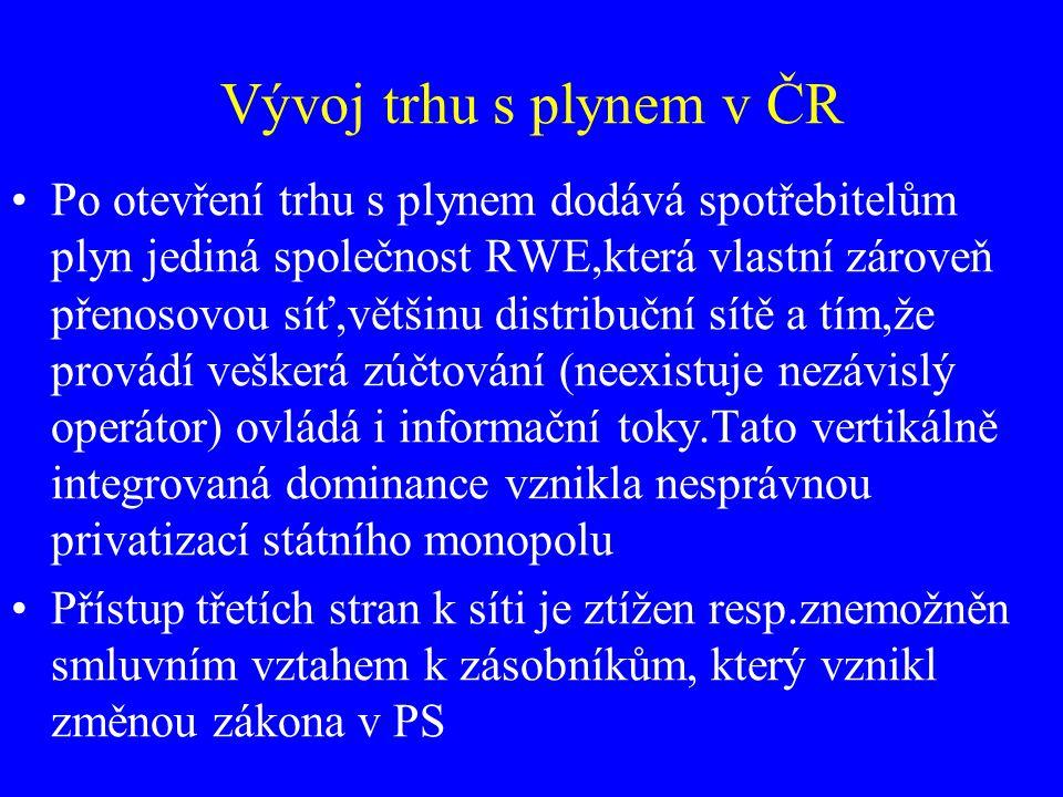 Vývoj trhu s plynem v ČR Po otevření trhu s plynem dodává spotřebitelům plyn jediná společnost RWE,která vlastní zároveň přenosovou síť,většinu distri