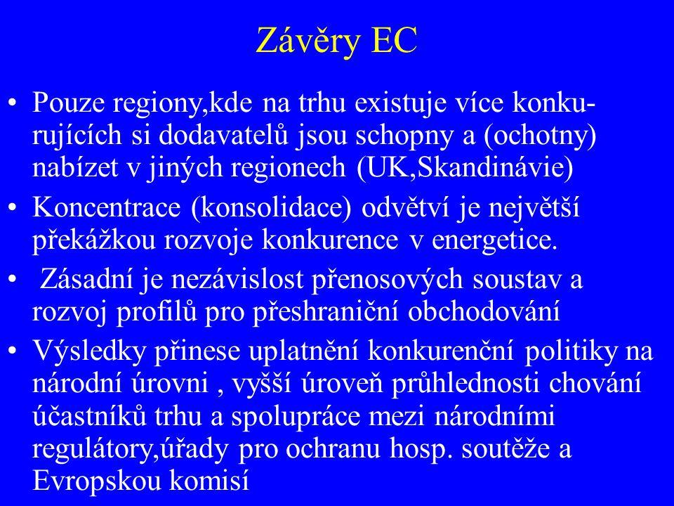 Závěry EC Pouze regiony,kde na trhu existuje více konku- rujících si dodavatelů jsou schopny a (ochotny) nabízet v jiných regionech (UK,Skandinávie) K