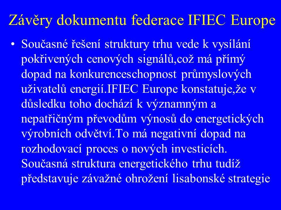 Závěry dokumentu federace IFIEC Europe Současné řešení struktury trhu vede k vysílání pokřivených cenových signálů,což má přímý dopad na konkurencesch