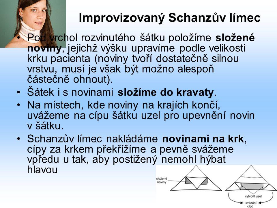 Improvizovaný Schanzův límec Pod vrchol rozvinutého šátku položíme složené noviny, jejichž výšku upravíme podle velikosti krku pacienta (noviny tvoří